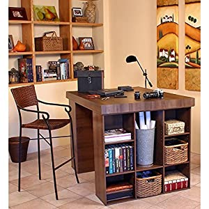 Venture Horizon Project Center Desk with 2 Bookcase Sides-Walnut