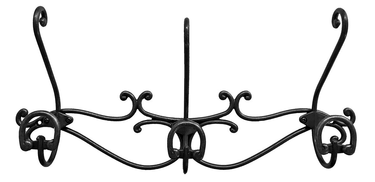 Headbourne 8059E 16 Over The Door Metal Hook Rail/Coat Rack with 3 Double Hooks and Antique Bronze Finish Shepherd Hardware