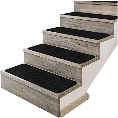 House, Home and More Set of 12 Adhesive Carpet Stair Treads – Black – 9 Inches X 36 Inches