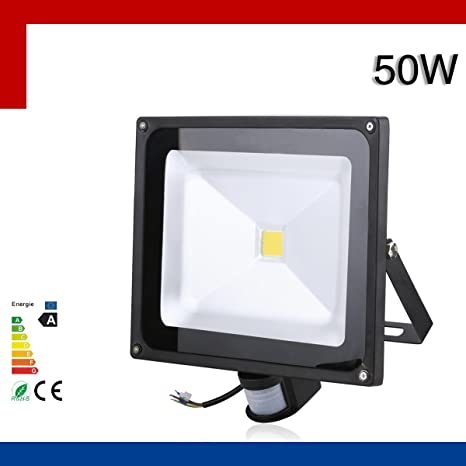 Foco LED 50w con Sensor de Movimiento de Alto Brillo Interior / Exterior -LED de