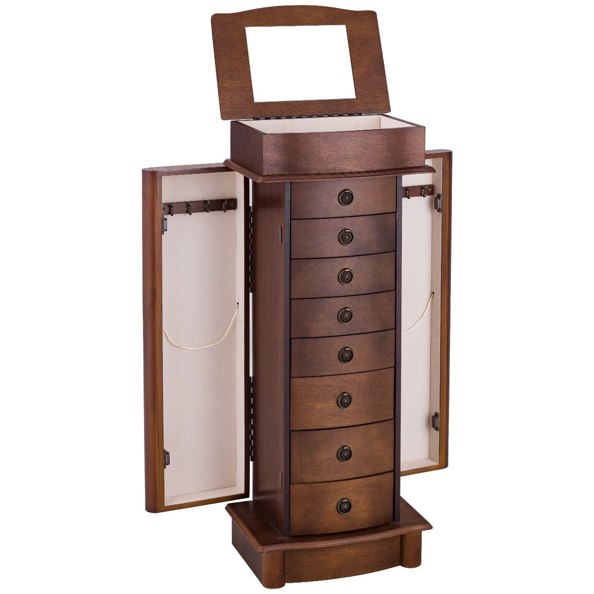 Giantex Jewelry Cabinet Armoire Storage Chest Box Wood Walnut Finish Stand Organizer Wood with Side Doors by Giantex