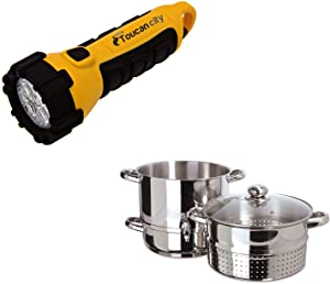 Toucan City LED Flashlight and Euro Cuisine Stainless Steel Stove Top Steam Juicer EC9500