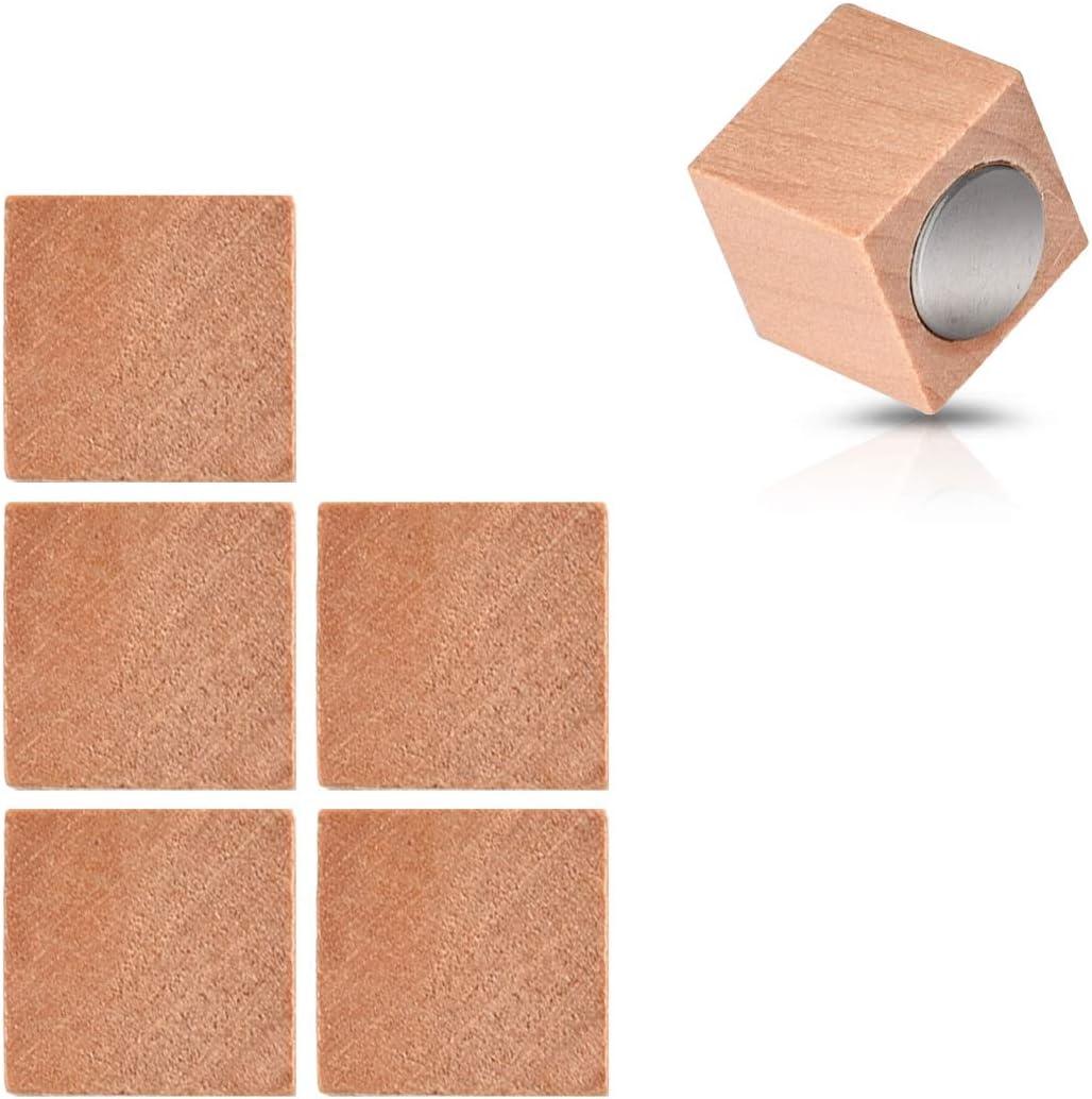 Neodym Magneten stark eckig in Braun Navaris Holz Magnete K/ühlschrank Magnet Set 6X K/ühlschrankmagnete Deko f/ür K/üche Magnettafel Whiteboard