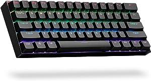 ANNE PRO 2, 60% Wired/Wireless Mechanical Keyboard (Gateron Brown Switch/Black Case) - Full Keys Programmable - True RGB Backlit - Tap Arrow Keys - Double Shot PBT Keycaps - NKRO - 1900mAh Battery