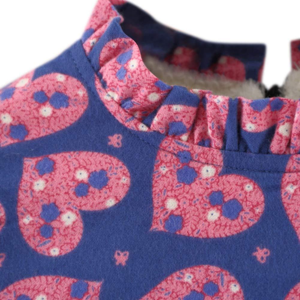 Veste en Fausse Fourrure pour 0-3Ans 2PCs Robes Florales en Molleton /épais /à Manches Longues BOBORA Robes B/éb/é Filles Hiver