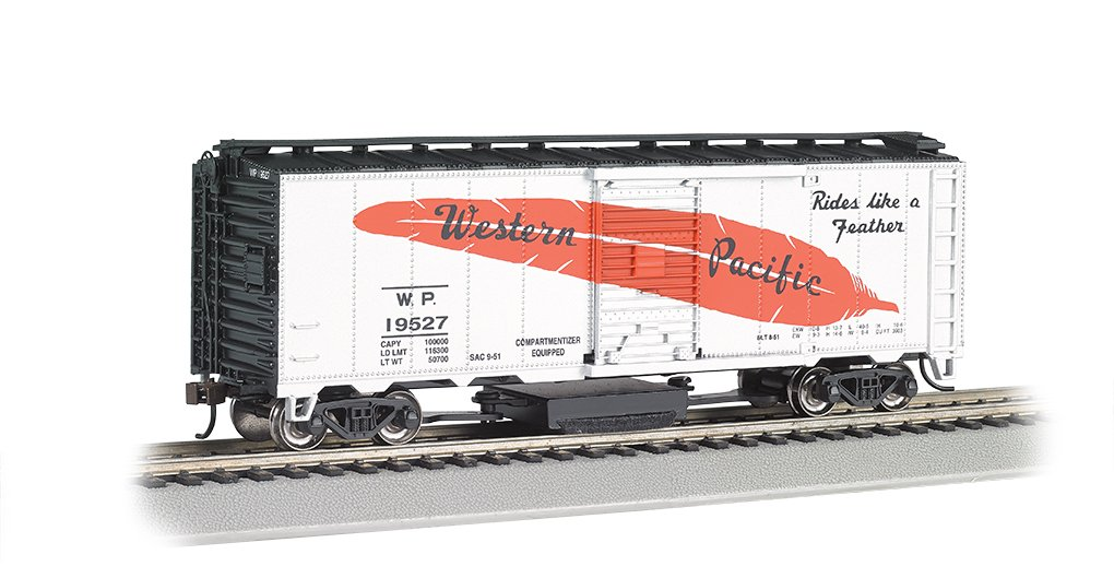 Bachmann Industries Track Cleaning 40' Box Ho Scale Western Pacific Silver Feather Car