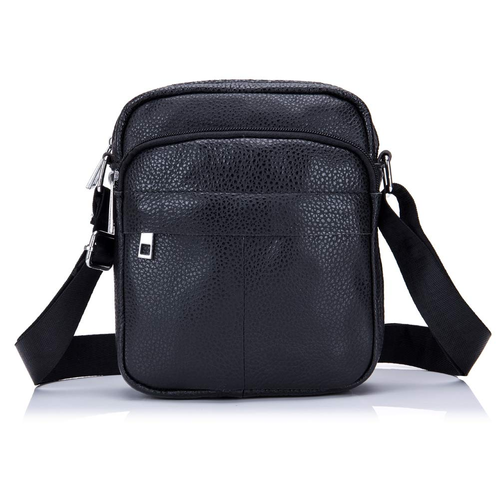 FFQNG Mens Shoulder Bag Leather Crossbody Bag Leisure Bag Adjustable Shoulder Strap