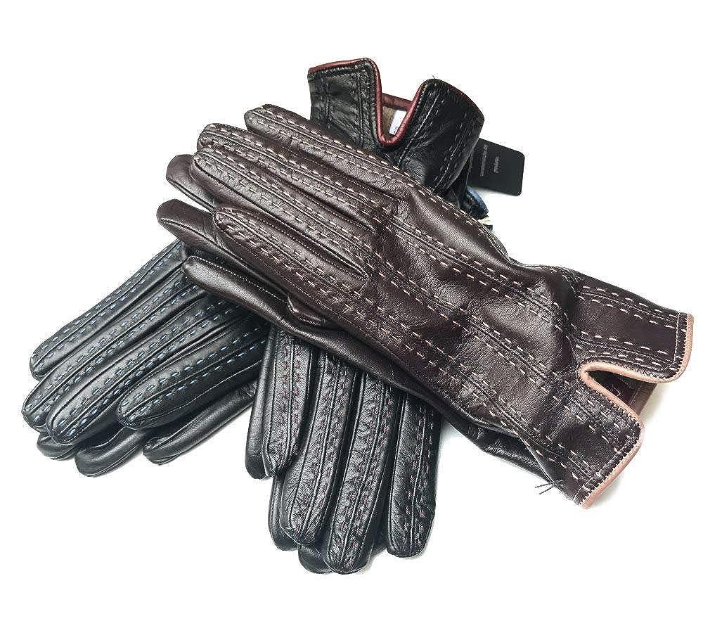 イタリア製 柔らかレザー手袋「職人ハンドメイド」ナッパ革カシミア裏手袋 ステッチトリミング B07K21TDVG 61/2(S)|ネロ(黒)&ボルドー ネロ(黒)&ボルドー 61/2(S)