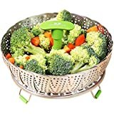 """GA Homefavor Lotus Stainless Steel Steamer Basket Vegetable Steamer with Extendable Handle(Size 7"""" to 11"""")"""