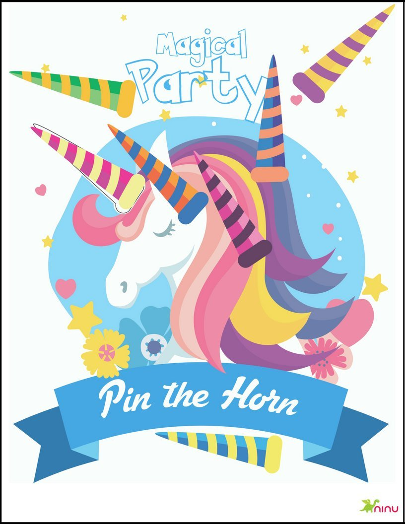 Pin the Horn on the Unicorn Party Game,Unicorn Game, New with Extra Horns, Party Favor Games, Party Supplies Decorations, Rainbow Unicorn