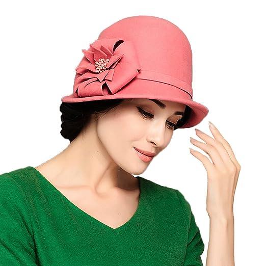 358c8e9828d79 Maitose Trade  Women s Wool Felt Flowers Church Bowler Hat Pink at ...