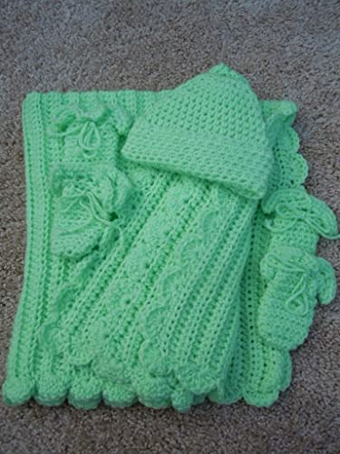 clothing newbornbaby neutral clothes, Set for a newborn yellow green color crochet blanket granny square baptismal set hat and booties
