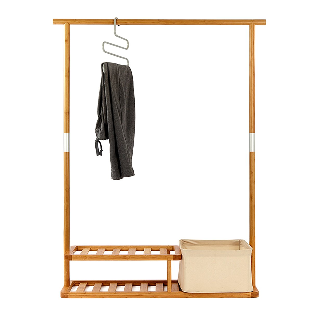 amazoncom segarty bamboo clothing garment rack heavy duty coat u0026 shoe clothes rack clothes hanger stand with 2 tier shoe shelves