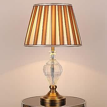 Tradicional Retro Lámpara de mesa Cristal tallado Vintage tela Sombra para la sala de estar Cafe Dormitorio familiar Mesita de noche LCNINGTD (color : B): Amazon.es: Iluminación