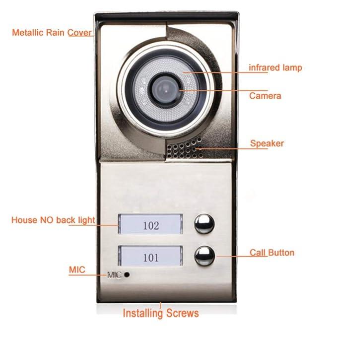 HUALI 7inch Registro inalámbrico WiFi 2 Apartamentos Video Portero telefónico Sistema IR-Cut HD 1000TVL cámara Timbre cámara con 2 botón 2 Monitor ...