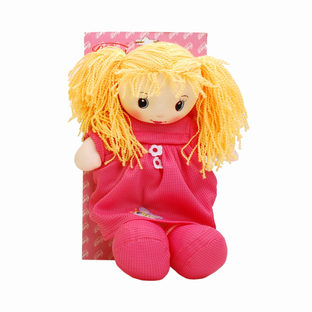 Linzy Ivana Rag Doll with Dress and Child Safety Harness Backpack Hot Pink 14 Hot Pink 14 Linzy Plush L-95794-3