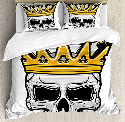 King Duvet Cover Set, Hand Drawn Crowned Skull Cranium with Coronet Tiara Halloween Themed Image, Decorative Duvet Cover Bed Sheet with 2 Pillow Cases Covers, Golden and Light Grey(King)
