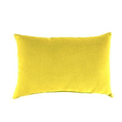 Plow & Hearth Classic Polyester Decorative Outdoor Lumbar Throw Pillow, 19'' x 12'' x 5.5'' - Daffodil : Garden & Outdoor