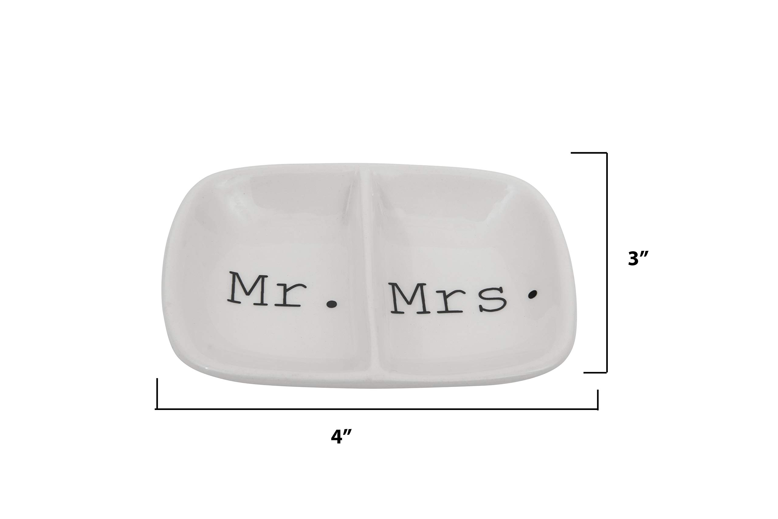 Creative Co-Op Ceramic ''Mr. & Mrs.'' Two Section Dish, White by Creative Co-op (Image #2)