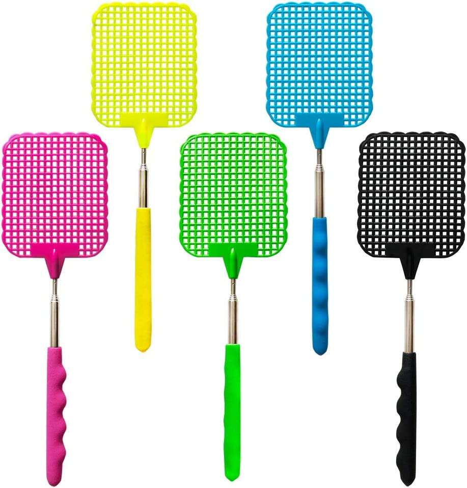Fly Swatter Manual Extendable Fly Swatter Plastic Durable Retractable Handle … (5 pcs) 61Nrc8Iiq-L