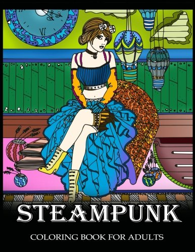 Steampunk Coloring Book for Adults: Women Steampunk Fashion Design 3