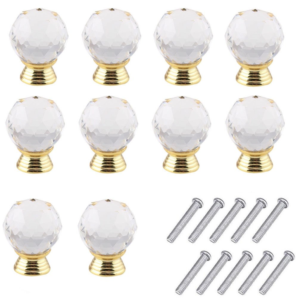 Mosong 10pcs 30mm Glass Clear Cabinet Knob Drawer Pull Handle Kitchen Door Wardrobe Hardware Used for Cabinet, Drawer, Chest, Bin, Dresser, Cupboard, Etc (Clear-Gold)