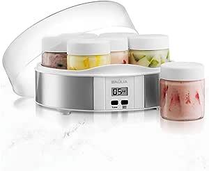 Baulia YM805 Auto Yogurt Maker, Includes 7 Glass 6 Oz Jars and Lids, Custom Flavor and Thickness, Silver