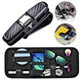 Glasses Holder and Organizer for Car Sun Visor, MoRange Sunglasses Mount with Ticket Card Clip Plus Car Visor Storage Anti-slip Elastic Woven Board for Parking Fuel Card Digital Accessories