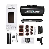 SAHOO Mini Bomba para Bicicletas Portátil de Aire con Kit Reparador De Neumáticos Y Parche Sin Punción Sin Pegamento Diseñado Para Válvulas Schrader & Presta & Pelota (Negro)