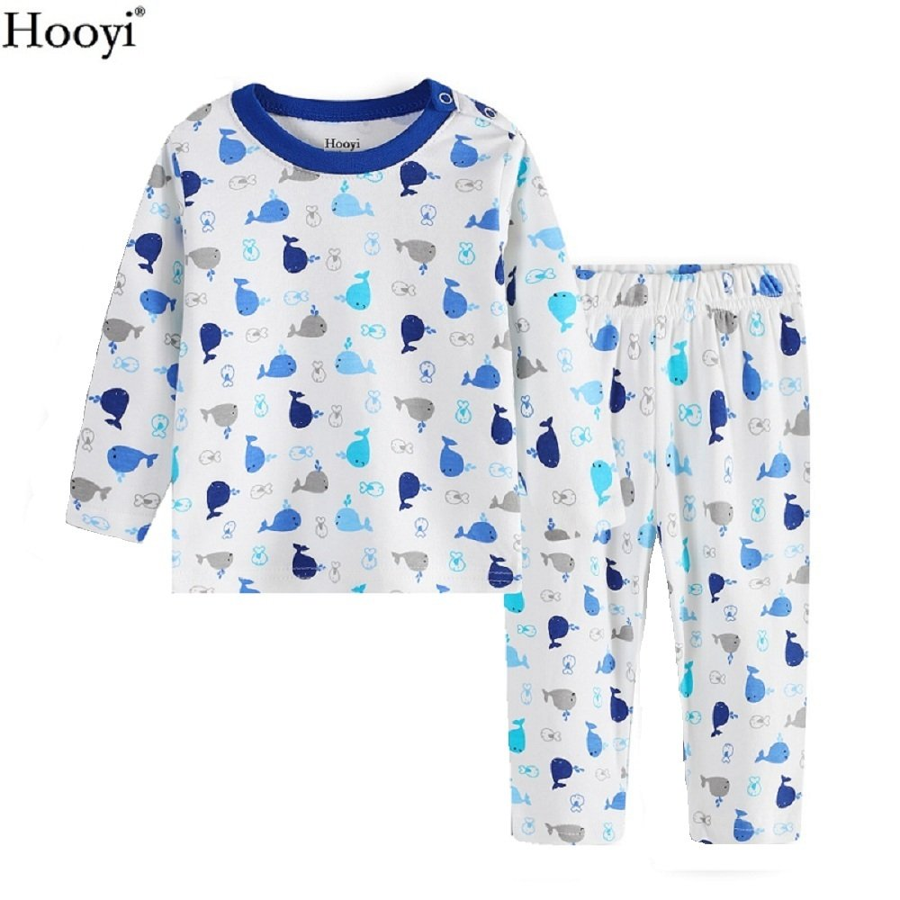 Hooyi Baby Boys Long Sleeve Sleepwear Cotton Shark Pajamas Set