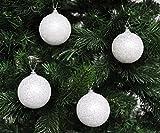 Weiße & silber glitzernde Weihnachtskugeln