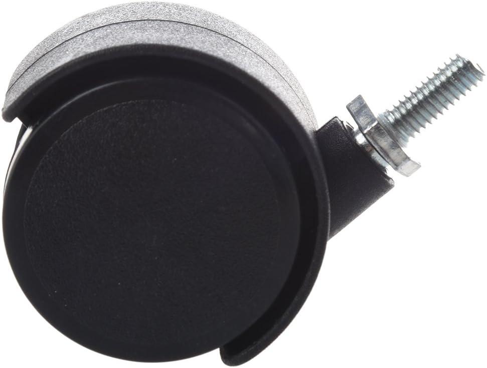 RETYLY 6mm Tige Filetee 40mm Double roue rotative Caster Noir