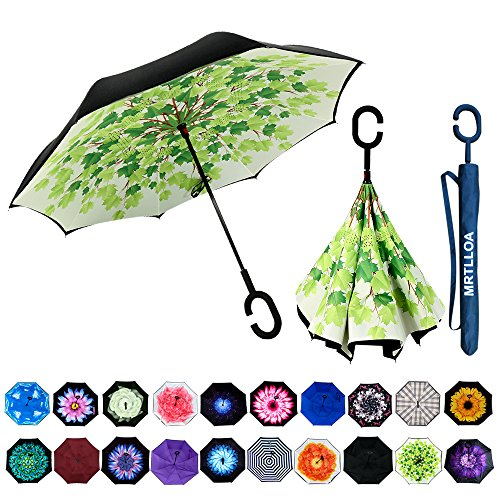 MRTLLOA Double Layer Inverted Umbrella with C-Shaped Handle, Anti-UV Waterproof Windproof Straight Umbrella for Car Rain Outdoor Use (Umbrella Plastic Cover)