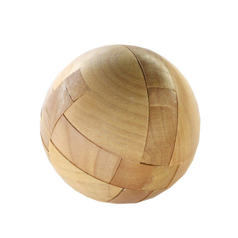 AHYUAN Handmade Wooden Puzzle Magic Ball Brain Teasers Toy Intelligence IQ Games 3D Sphere Puzzles Adults