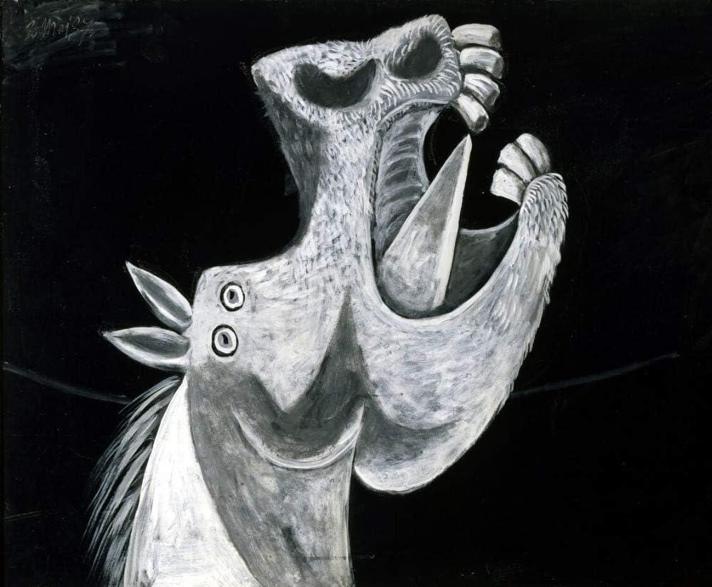 tzxdbh Pintura Al Óleo Mural De Algodón sobre Lienzo De Cabeza De Caballo Picasso para Decoración De Pared De Arte De Pared De Sala De Estar50X100