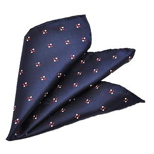 HAVILAH MODE ポケットチーフ お洒落な色柄 【CA 817】チーフ 濃紺 赤白小紋柄メンズ おしゃれ かわいい ビジネス 結婚式