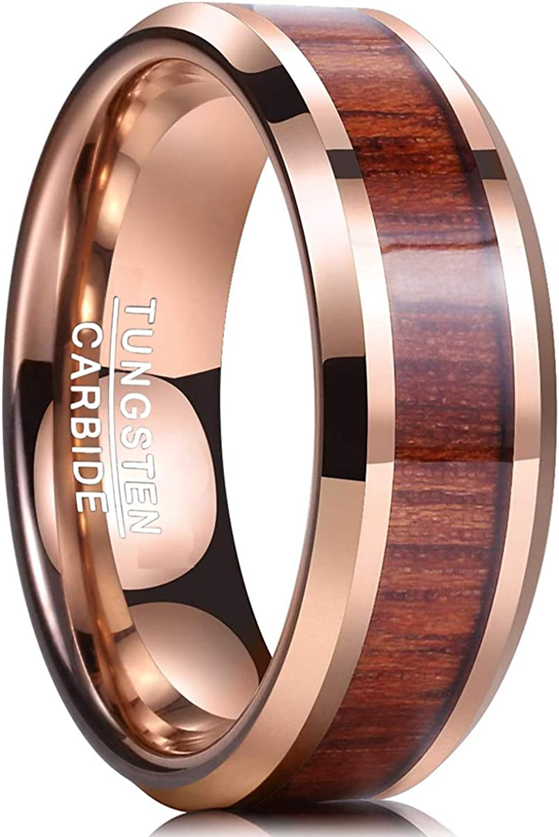 Tungsten Ring Men Women Wedding Band Rose Gold IP Hawaiian Koa Wood Inlay 8mm