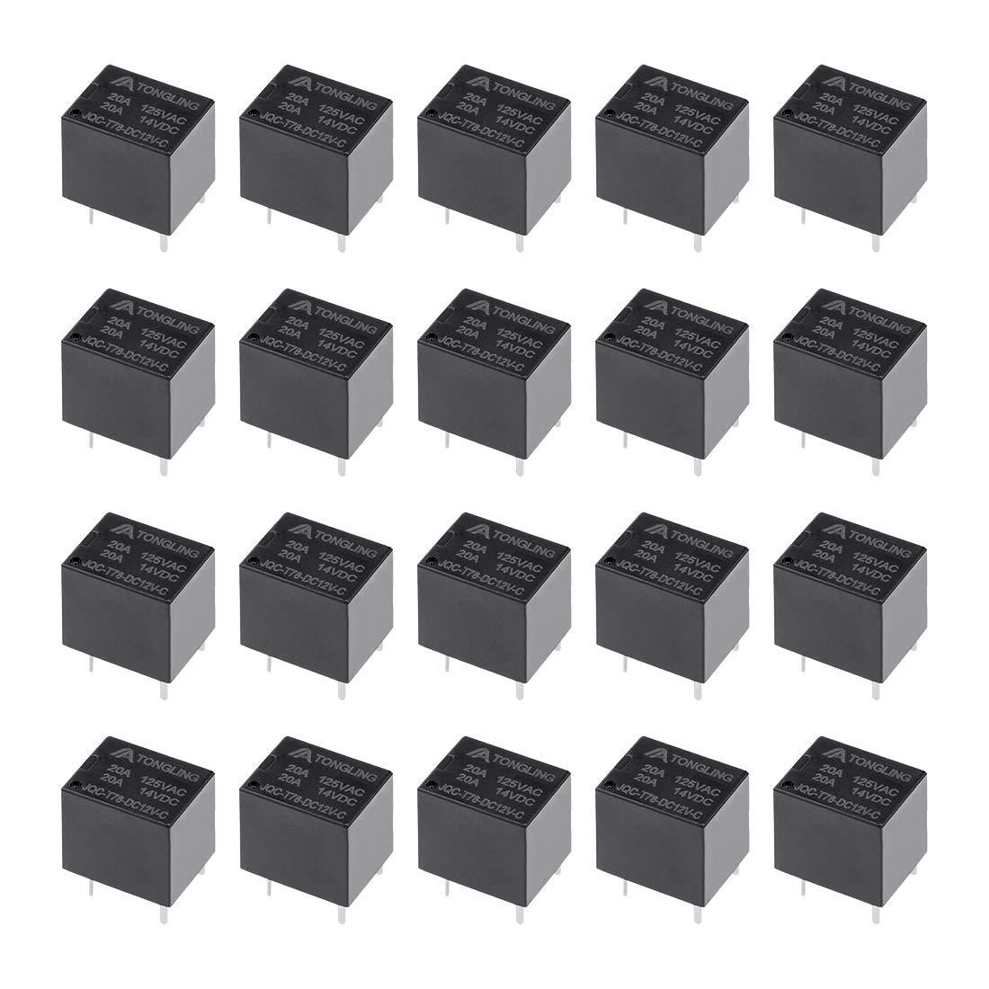 sourcingmap 20 Pcs JQC-T78-DC12V-C DC 12V Coil SPDT 5P PCB Electromagnetic Power Relay Black Color