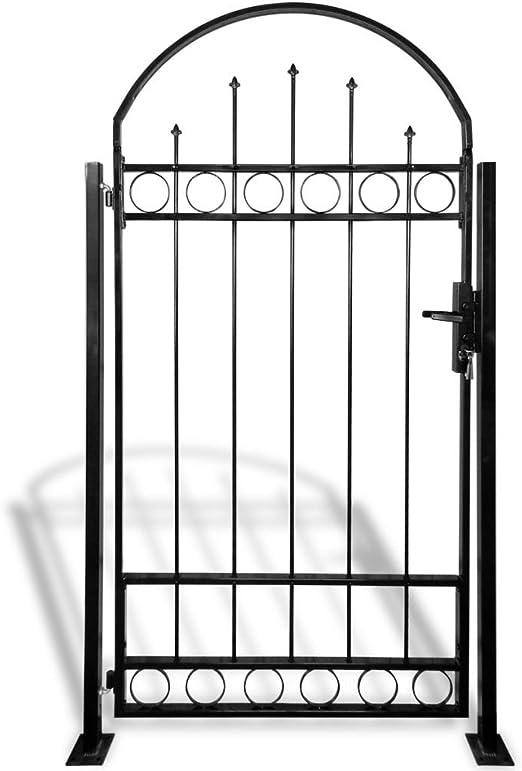 Lechnical Zauntor mit Gew/ölbter Spitze Stahl Gartentor Einzeltor Zaunt/ür Zaun Doppeltor Hoftor Gartenpforte 100 x 200 cm Schwarz