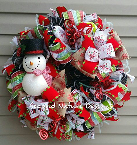 Whimsical Snowman Deco Mesh Christmas Wreath