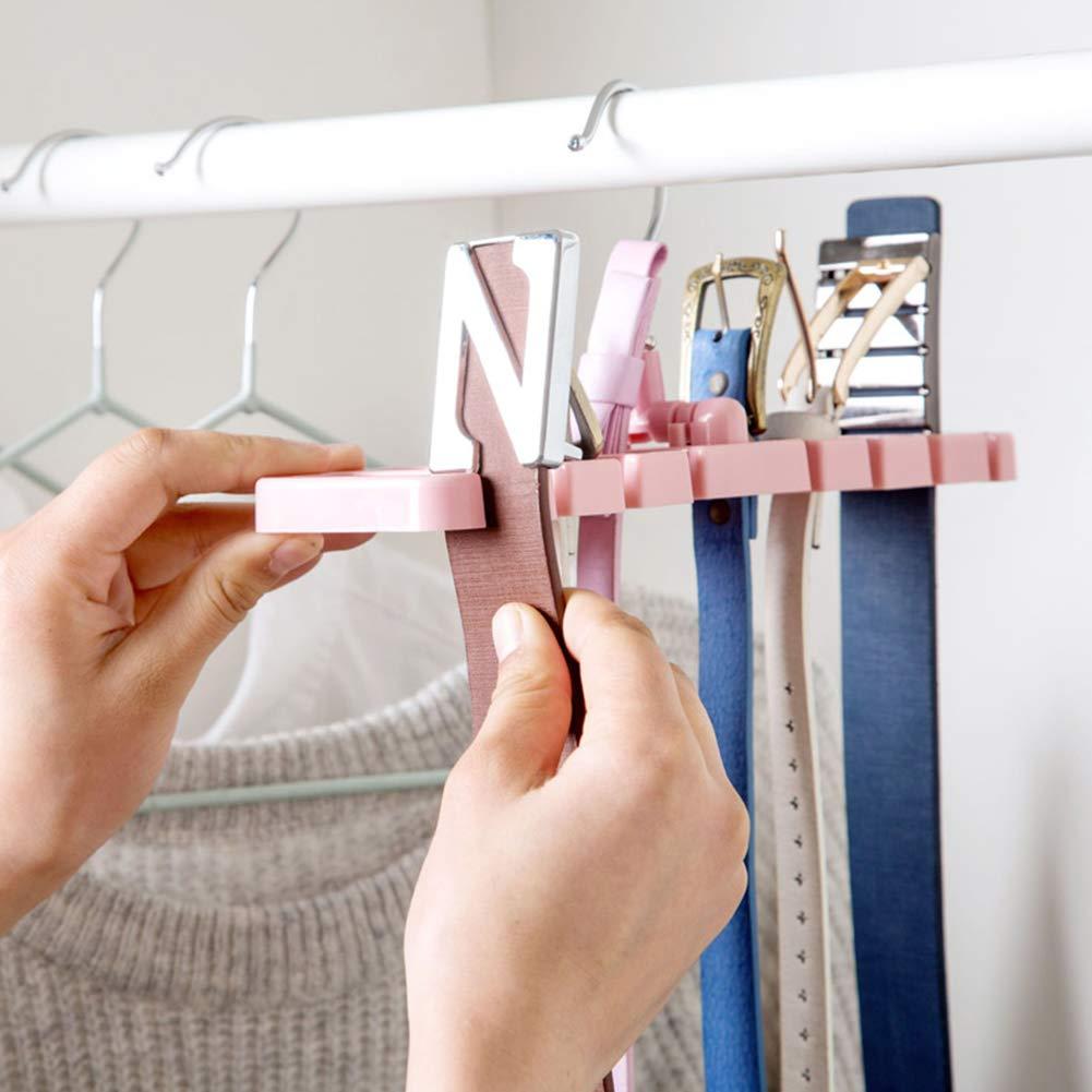 NaiCasy Multifunktionale G/ürtel Storage Rack kreatives Plastik Riegel-Halter bewegliches Closet Krawatten Organisator Rosa