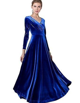 baf2e41bdb7 Women s Elegant Long Sleeve Chest Crossover Evening Maxi Dress (Asian XL