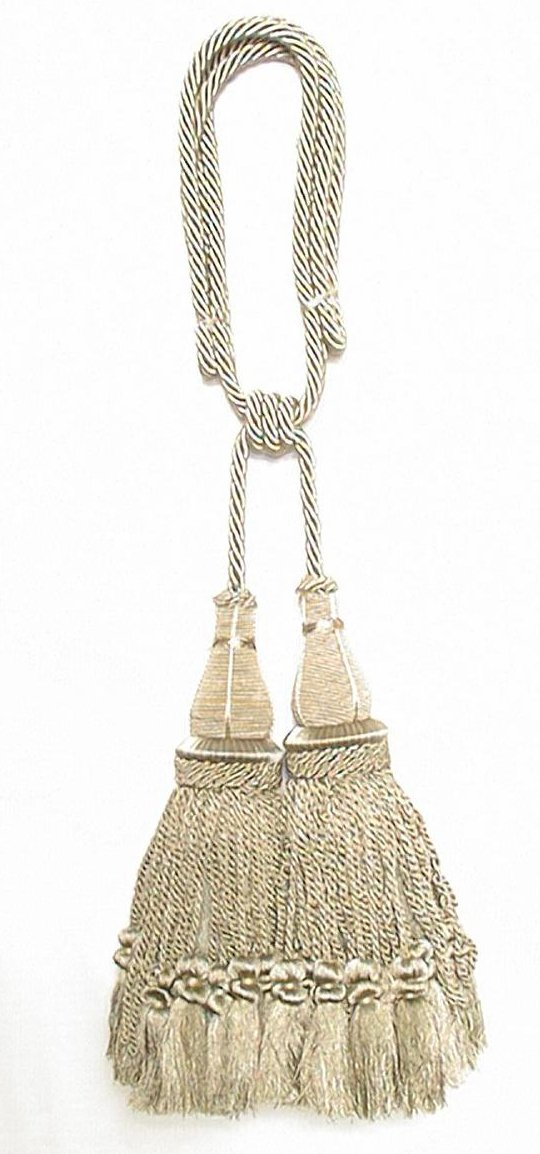 India House 79898 Jhalar Tieback with 10-Inch Double Tassel and 36-Inch Cord, Sage