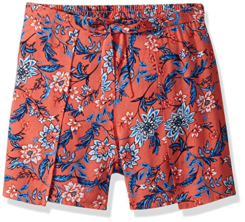 Amy Byer Girls' Big Woven Shorts, Blue/Ivory Jacobean Floral XL ()