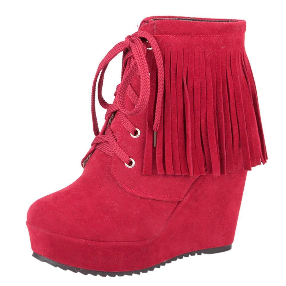 ZHRUI Stiefel Damen Schuhe Damenstiefel Weisefrauen Schnüren Sich Oben Quasten Hohe Ferse Kurze Stiefeletten Freizeitschuhe Winterstiefel Turnschuhe Stiefel (Farbe   Rot Größe   37 EU)