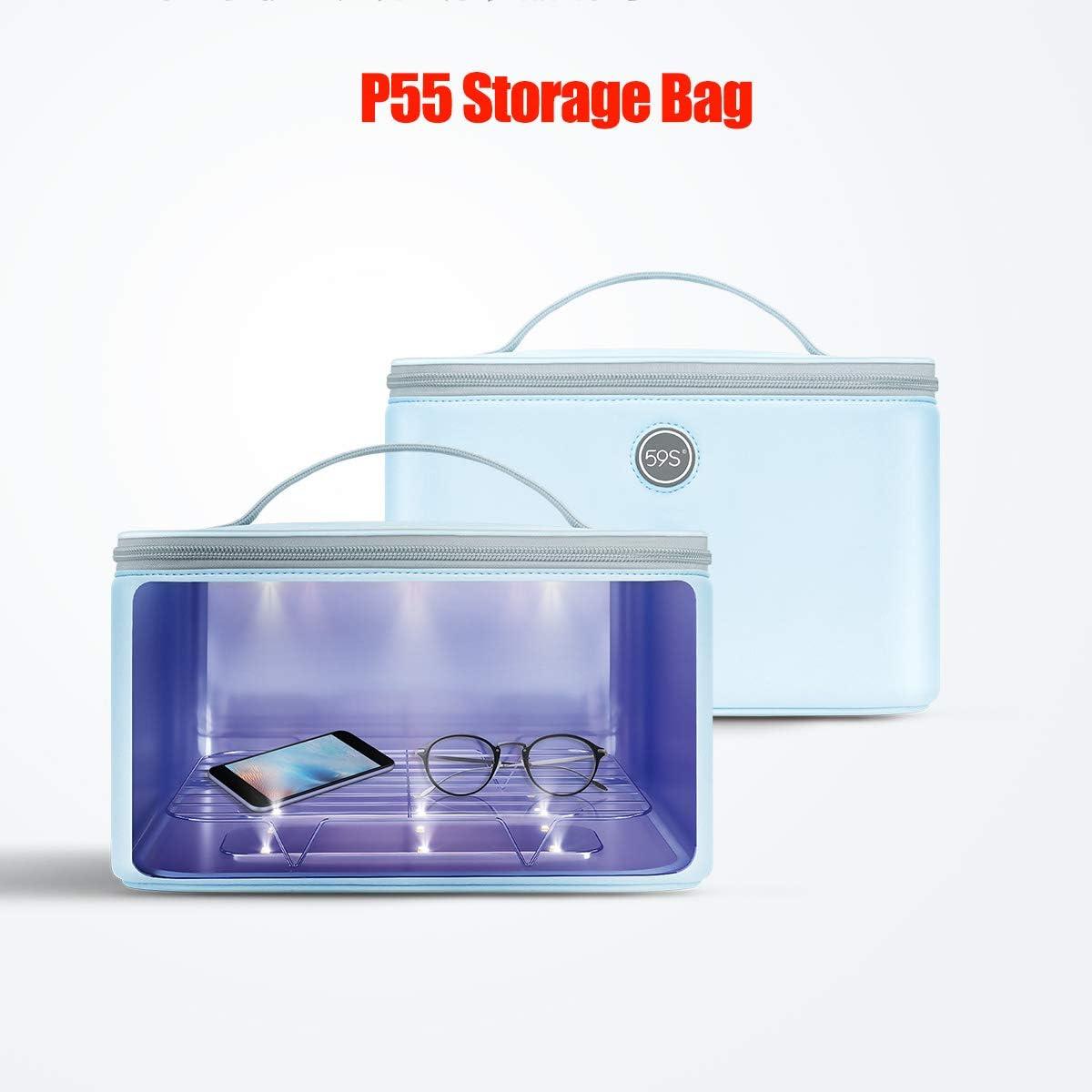 sterilizante tipo bolsa cuadrada con cremallera de color blanco s59, desinfecta gafas y teléfonos, reutilizacion de mascarillas con luz ultravioleta