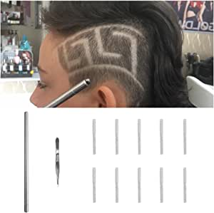 Hair Tattoo Pen for Hair Design Barber Pen Blades Professional Art Cut Salon Magic Engraved Sharp Pen Tweezers DIY Hair Styling Tools Hair Cutting Tattoo Stick Stainless Steel Hairstyle Accessories
