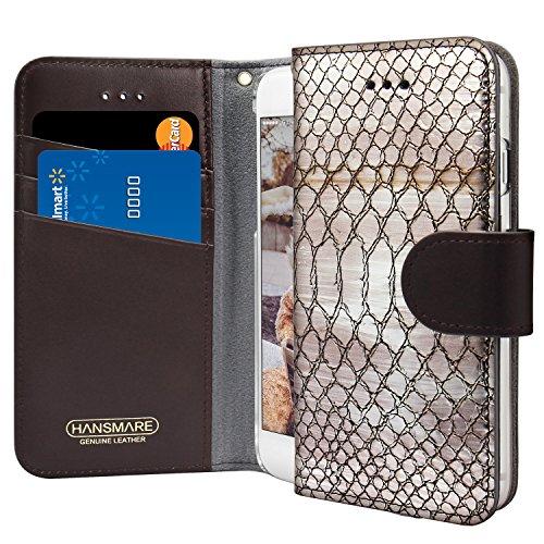 HANSMARE Shine Flip Snakeskin Pattern Genuine Leather Premium Wallet Case Apple iPhone 8/7(Silver Brown)