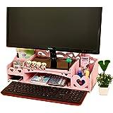 YUMUO Wooden Monitor Stand Riser Screen Riser Monitor Riser Screen Stand Desk Attachment Screen Enhancement Desktop Organizer