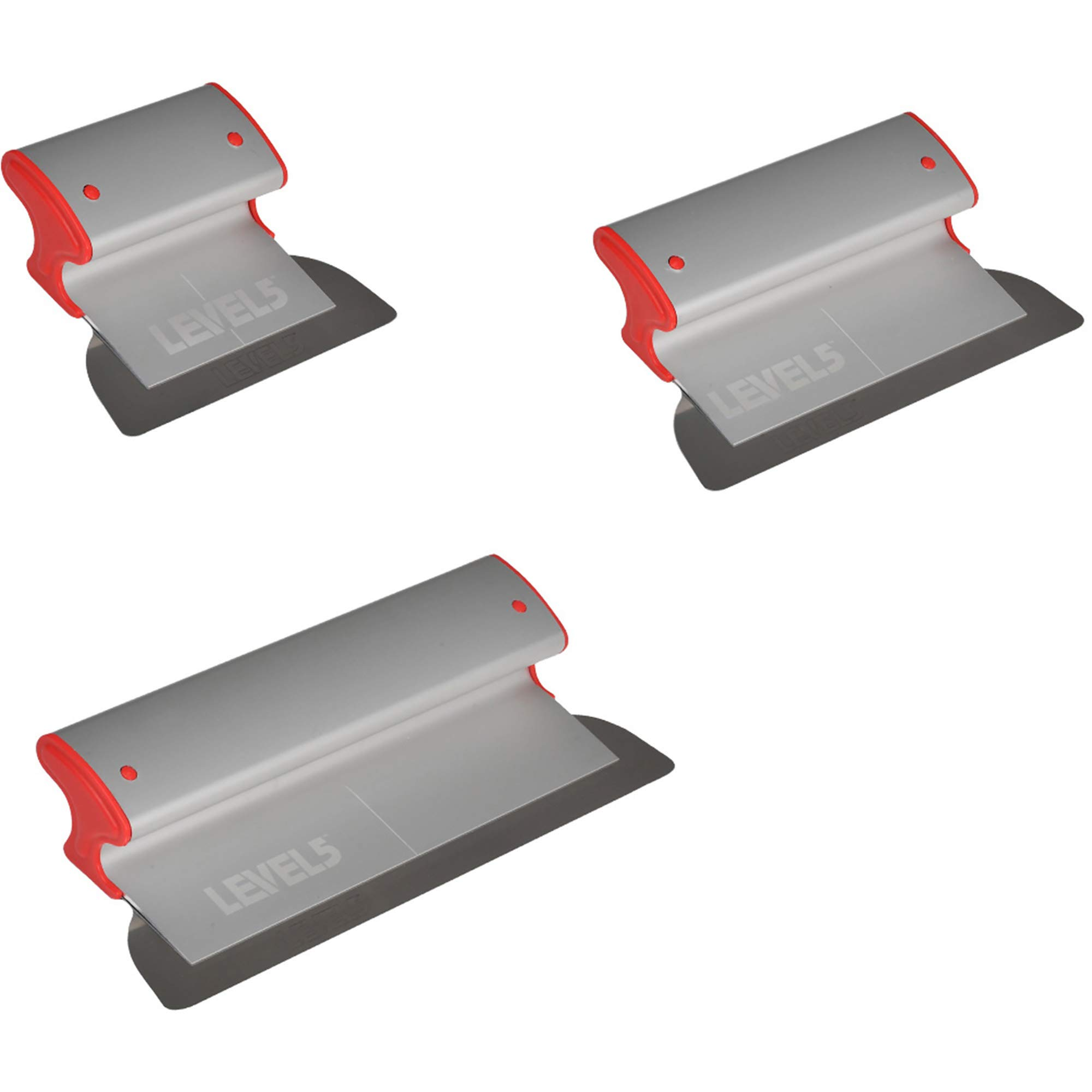 Drywall Skimming Blade Set - 7'', 10'' & 14'' Blades   LEVEL5   Pro-Grade   Extruded Aluminum & European Stainless Steel Construction   High-Impact End Caps   5-442